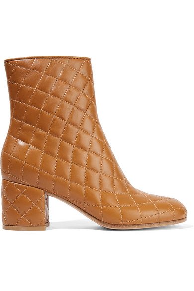 Gianvito Rossi - Quilted Leather Ankle Boots - Tan