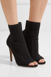 Gianvito Rossi Vires perforated stretch-knit peep-toe ankle boots