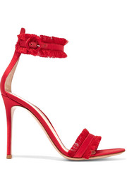 Gianvito Rossi Portofino fringed satin sandals