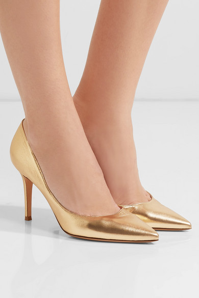 Gianvito Rossi 85 Pumps aus Metallic-Leder