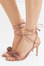 Ruffled suede sandals