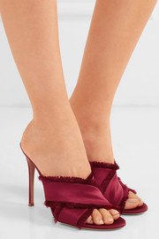 Gianvito Rossi Frayed satin mules