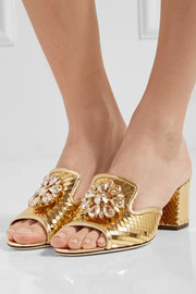 Dolce & Gabbana Crystal-embellished metallic leather mules