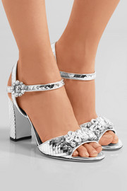 Dolce & Gabbana Bianca crystal-embellished metallic leather sandals