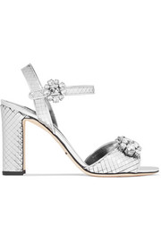 Bianca crystal-embellished sliced metallic leather sandals