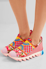 Ibiza suede-trimmed printed neoprene slip-on sneakers
