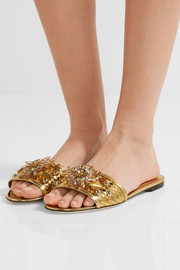 Dolce & Gabbana Crystal-embellished metallic leather slides