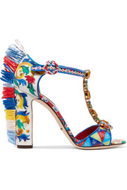 Bianca raffia-trimmed embellished printed patent-leather sandals