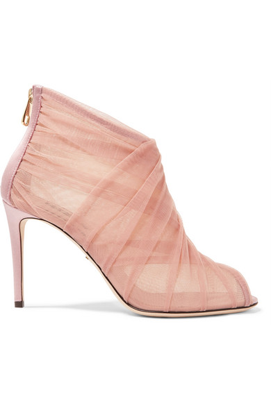Dolce & Gabbana - Keira Mesh And Tulle Ankle Boots - Pastel pink