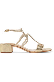 René Caovilla Crystal-embellished satin and metallic snake-effect leather sandals