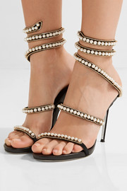 Embellished suede and leather sandals
