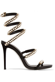 René Caovilla Embellished suede and leather sandals