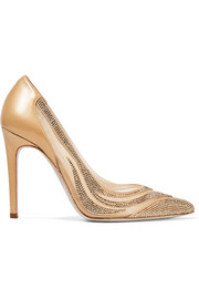 René Caovilla Paneled crystal-embellished satin, mesh and leather pumps