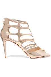 Jimmy Choo Ren cutout mirrored-leather sandals