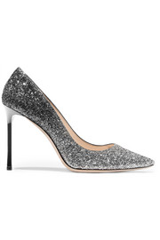Jimmy Choo Romy 100 dégradé glittered leather pumps