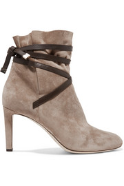 Jimmy Choo Dalal leather-trimmed suede ankle boots