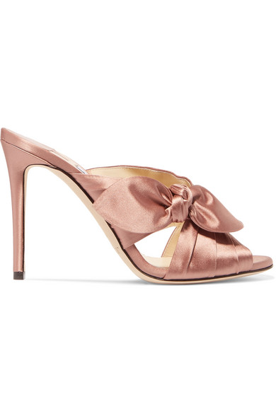 Jimmy Choo Woman Keely Knotted Satin Mules Antique Rose Size 37 Jimmy Choo London Sale Fast Delivery Discount Manchester Great Sale Free Shipping From China Free Shipping 2018 Newest 0MBebIUdkV