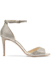 Jimmy Choo Tori embellished glittered leather sandals
