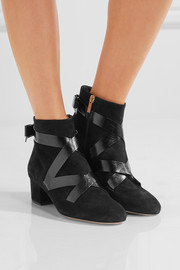 Jimmy Choo Heat suede and glossed textured-leather ankle boots