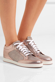 Jimmy Choo Miami glittered mesh and embossed leather sneakers