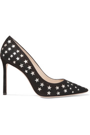 Jimmy Choo Romy laser-cut suede and metallic leather pumps