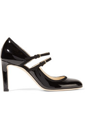Jimmy Choo Micha cutout suede-trimmed patent-leather pumps