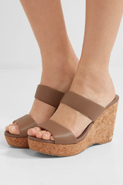 Jimmy Choo Parker textured-leather wedge sandals