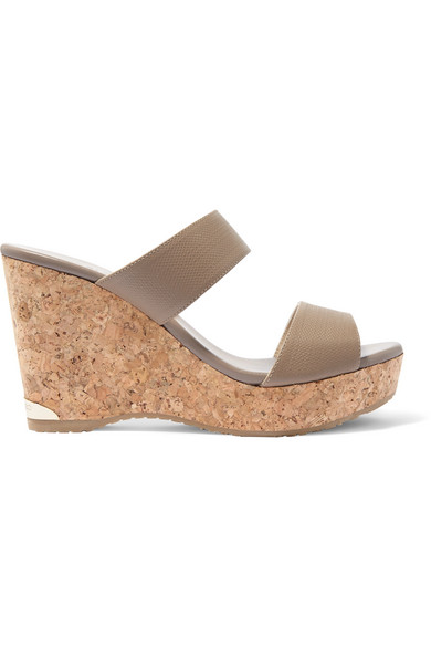 jimmy choo female jimmy choo parker texturedleather wedge sandals taupe