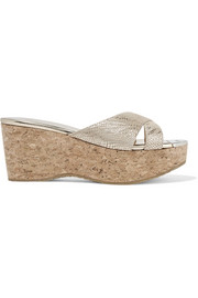 Jimmy Choo Prima metallic snake-effect suede and cork wedge sandals