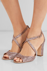 Jimmy Choo Carrie glittered leather sandals