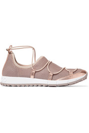 Jimmy Choo Andrea metallic leather-trimmed mesh slip-on sneakers