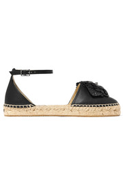 Dylan floral-appliquéd leather espadrilles
