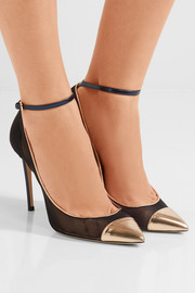 Jimmy Choo Tower metallic leather-paneled mesh pumps