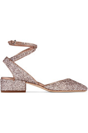 Jimmy Choo Vicky glittered leather pumps