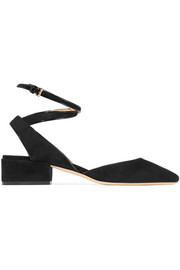 Jimmy Choo Vicky patent leather-trimmed suede pumps