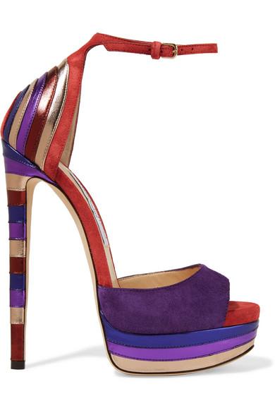 Jimmy Choo - Max Metallic Leather-paneled Suede Platform Sandals - Purple