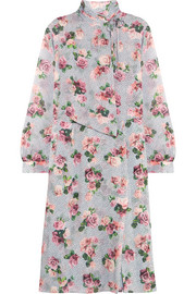 Aubrey draped floral-print silk crepe de chine dress