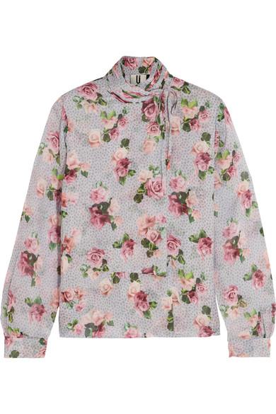 Topshop Unique - Aubrey Draped Floral-print Silk Crepe De Chine Blouse - Pastel pink