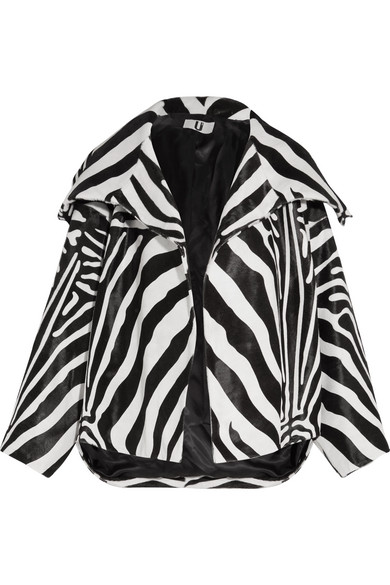 Topshop Unique - Vaughn Oversized Zebra-print Calf Hair Jacket - Zebra print