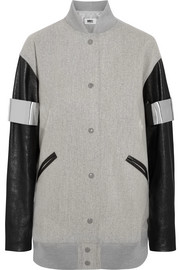 Faux leather-paneled wool-blend felt bomber jacket