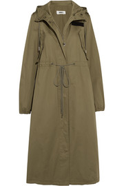 Hooded cotton-gabardine trench coat