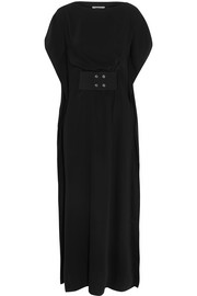Belted crepe maxi dress