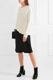 Asymmetric cable-knit cotton sweater