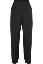 Canvas-trimmed wool pants