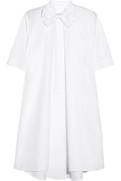 MM6 Maison Margiela - Pussy-bow Cotton-poplin Mini Shirt Dress - White