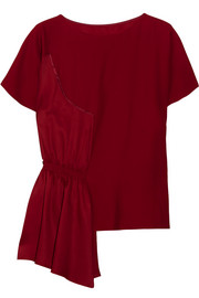 MM6 Maison Margiela Asymmetric crepe and smocked satin top