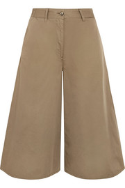Cropped wide-leg cotton pants