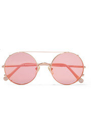 Valentine convertible round-frame rose gold-tone mirrored sunglasses
