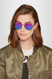 Yetti round-frame matte-acetate mirrored sunglasses