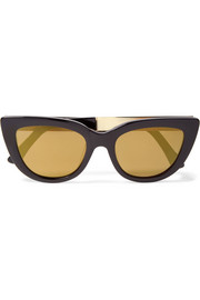 Laura cat-eye acetate and gold-tone sunglasses